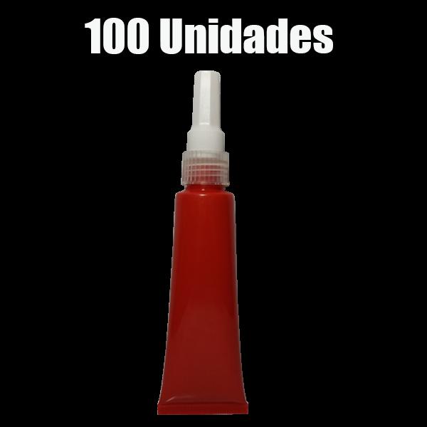 Bisnaga De Plástico Vermelho Com Bico Aplicador 100ml (100 unidades)
