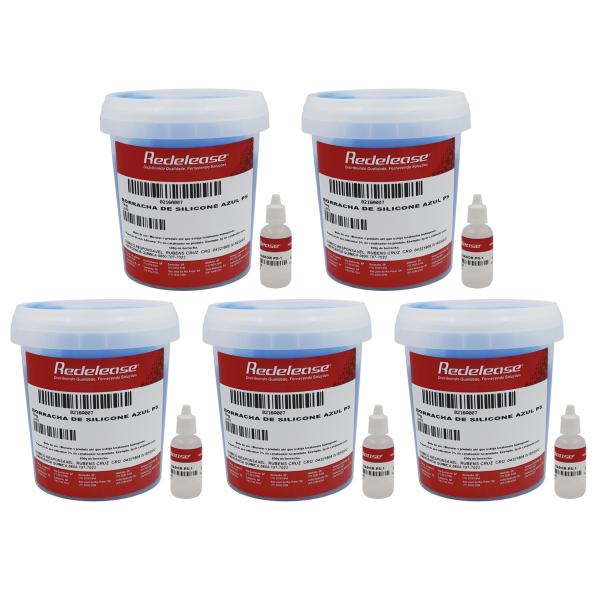 Borracha De Silicone Azul Alta Flexibilidade para Moldes Com Catalisador (5,150 Kg)