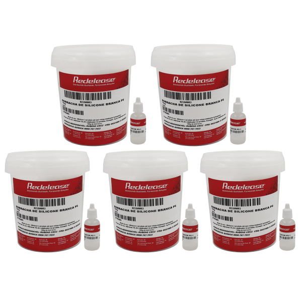 Borracha De Silicone Branca Alta Flexibilidade para Moldes Com Catalisador 5,150 Kg