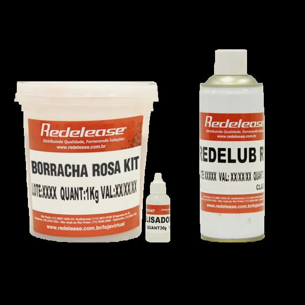 Kit Borracha De Silicone Rosa C/ Catalisador + Spray Redelub