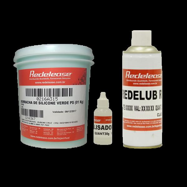 Kit Borracha De Silicone Verde C/ Catalisador + Spray Redelub