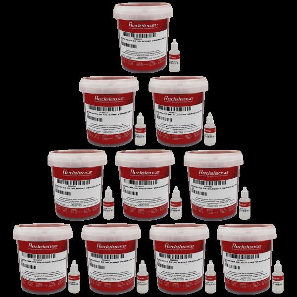 Borracha De Silicone Vermelha Rígida para Fundição Com Catalisador (10,500 Kg)