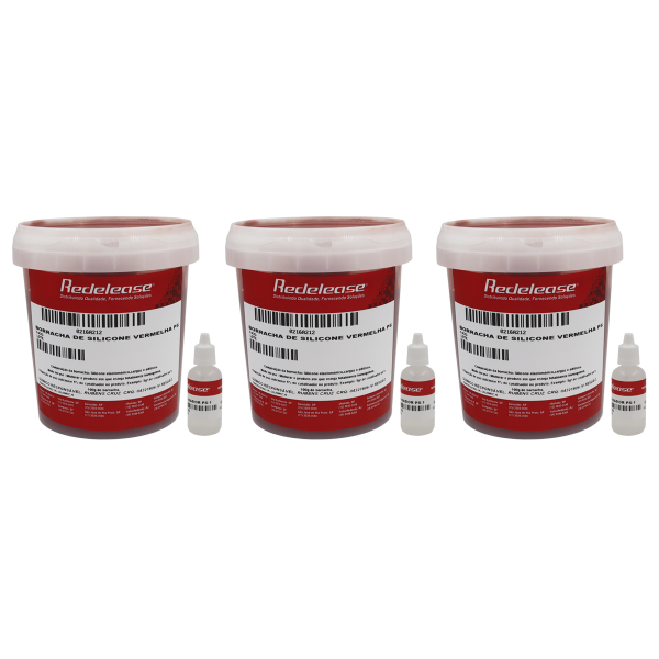 Borracha De Silicone Vermelha Rígida para Fundição Com Catalisador (3,150 Kg)