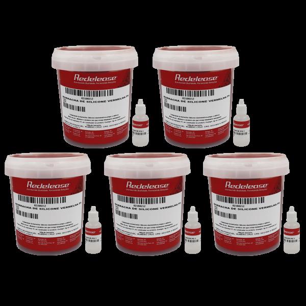 Borracha De Silicone Vermelha Rígida para Fundição Com Catalisador (5,250 Kg)