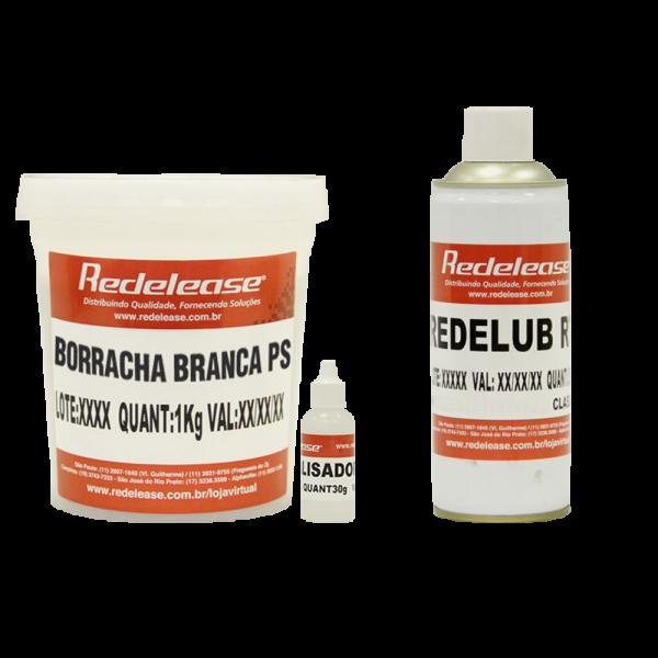 Kit Borracha De Silicone Branca C/ Catalisador + Spray Redelub