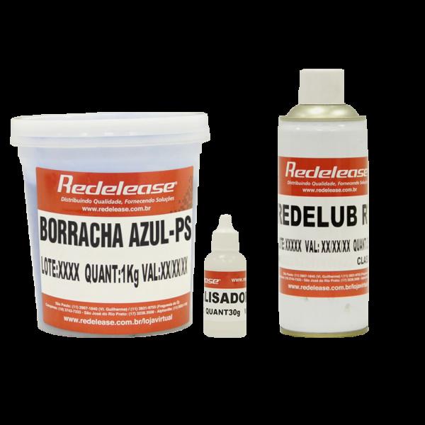 Kit Borracha De Silicone Azul C/ Catalisador + Spray Redelub