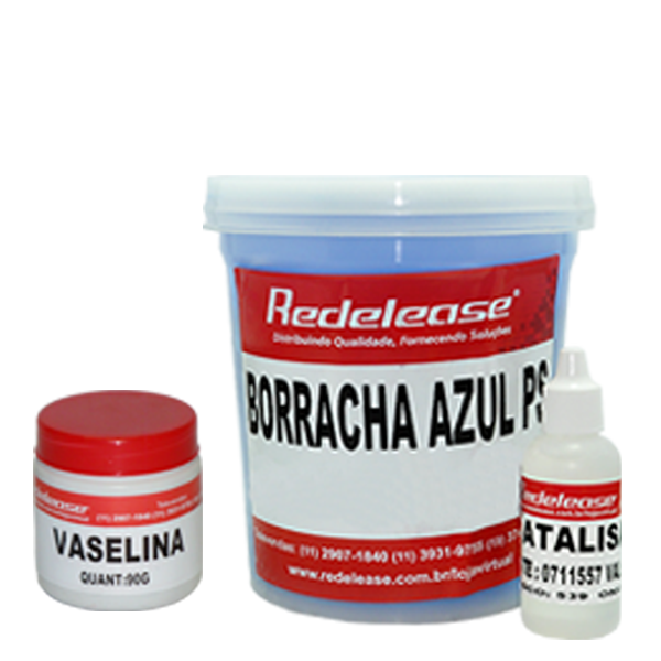 Kit Borracha De Silicone Azul C/ Catalisador + Vaselina