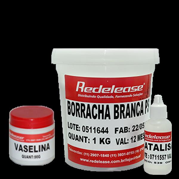 Kit Borracha De Silicone Branca C/ Catalisador + Vaselina