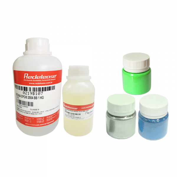 Kit Resina 2004 Epoxi Transparente De Baixa Viscosidade Com Endurecedor 3154 (1,5 Kg) + [Pigmentos em Pó Verde, Prata e Azul]
