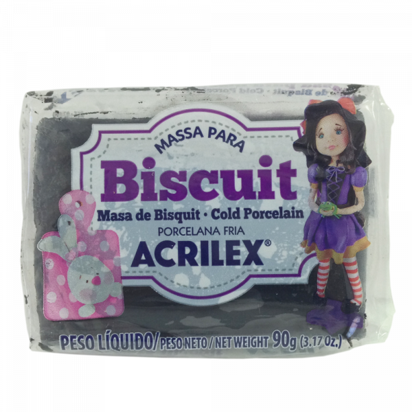 Massa para Biscuit Preto Acrilex (90 g)